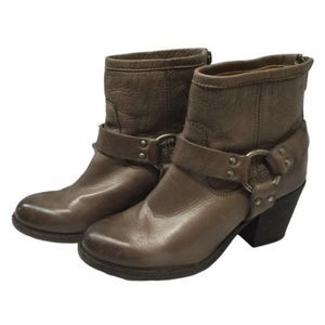 FRYE Tabitha Harness Leather Ankle Boots Gray 5.5